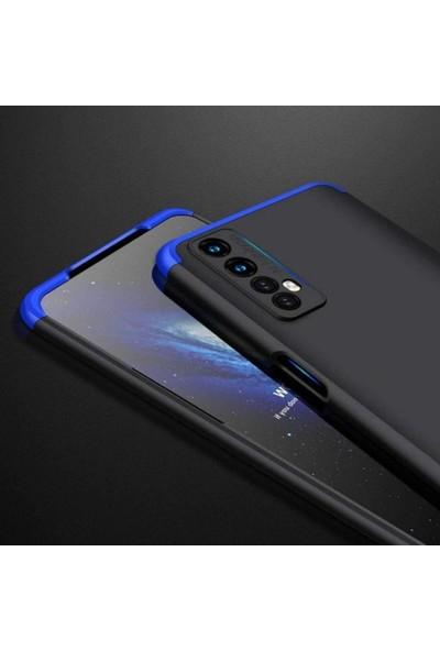 Case 4U Oppo Realme 7 Kılıf 360 Derece Korumalı Tam Kapatan Koruyucu Sert Silikon Ays Arka Kapak Mavi