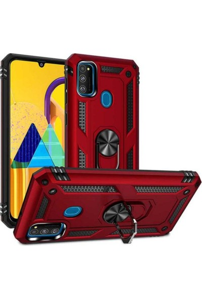 Case 4U Samsung Galaxy M21 Kılıf Çift Katmanlı Yüzüklü Manyetik Vega Kapak Siyah