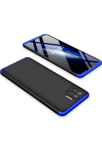 Case 4U Oppo Reno 4 Lite Kılıf 360 Derece Korumalı Tam Kapatan Koruyucu Sert Silikon Ays Arka Kapak Siyah Mavi