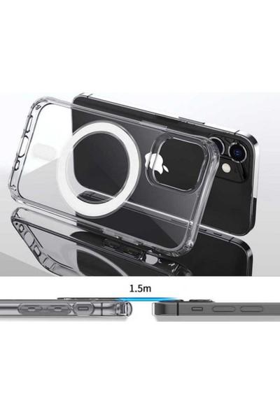 Case 4U Apple iPhone 12 Kılıf Tacsafe Wireless Kapak Şeffaf - Magsafe kablosuz şarj uyumlu