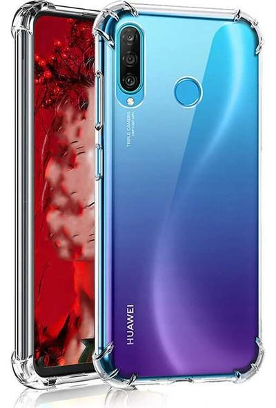 Fibaks Huawei P40 Lite E Kılıf Antishock Köşe Korumalı Darbe Emici Şeffar Sert Silikon Şeffaf