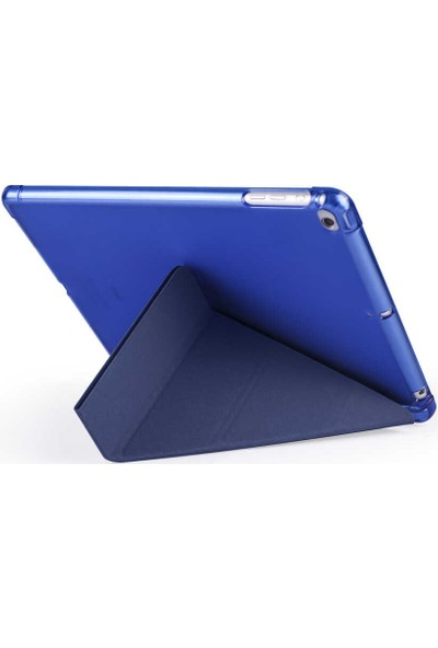 "Samsung Galaxy Tab S6 Lite SM-P610 10.4"" Kılıf + Kalem Kalem Bölmeli Tri Folding Smart Standlı Pu Deri Arkası Yumuşak Silikon 360 Tam Koruma Siyah"