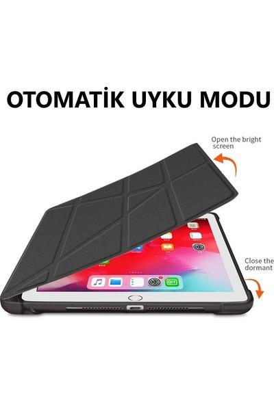 Fujimax Apple iPad Air 4. Nesil 10.9 Inç 2020 Kalemlikli Arka Silikon T.p.u Uyku Modlu Üçgen Katlanan Yatay ve Dikey Standlı Antişok Özellikli Gard Smart Kılıf +9h Nano Ekran Koruyucu Mavi