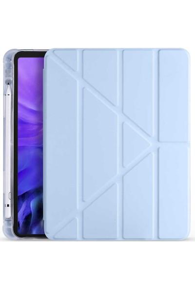 Fujimax Apple iPad Air 4. Nesil 10.9 Inç 2020 Kalemlikli Arka Silikon T.p.u Uyku Modlu Üçgen Katlanan Yatay ve Dikey Standlı Antişok Özellikli Gard Smart Kılıf +Ekran Çizilme Önleyici Jelatin Mavi