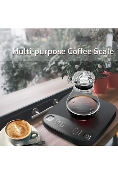 Escobarista Dijital Hassas Terazi LED Ekranlı Zamanlayıcılı Kahve Tartısı