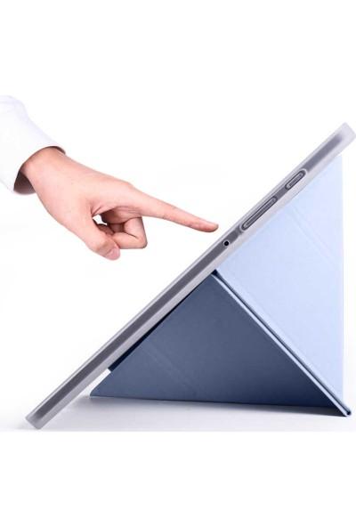 Fujimax Samsung Galaxy S6 Lite 2020 P610 P615 P617 Arka Silikon T.p.u Kalemlikli Yatay ve Dikey Standlı Üçgen Katlanan Smart Kılıf Mavi