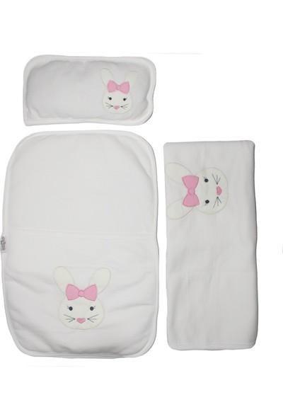 Bebegen Pembe Kurdelalı Tavşan Nakışlı Alt Açma + Battaniye Set