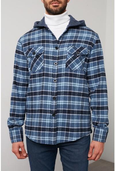 Buratti Ekoseli Çift Cepli Uzun Kollu Kapüşonlu Oduncu Gömlek Erkek Gömlek 5910082