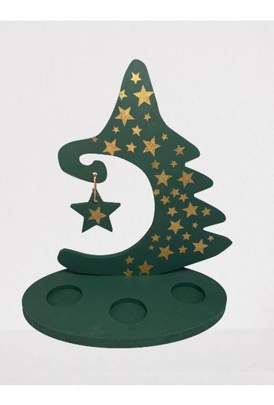 Lama Art Shop Yıldız Desenli Yeşil Ahşap Ağaç Mumluk Genişlik