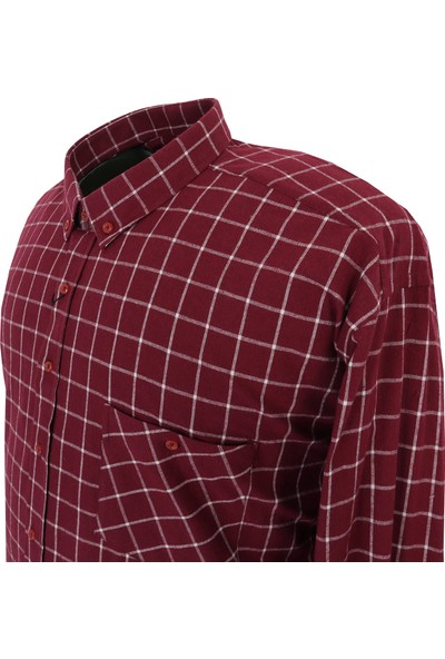 Bettino Pamuklu Büyük Beden Oduncu Gömlek & Bordo