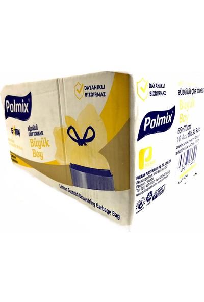 Polmix Çöp Torbası Büzgülü Çöp Poşeti Büyük Boy Gram 65 x 70 Mikron Limon Kokulu Sarı 1 Paket