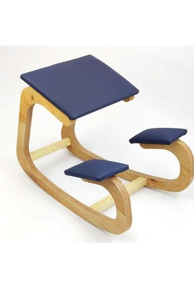 Okkored Özel Tasarım Deri Sandalye Boyun Düzleşme Önleyici ve Kamburlaşma Önleyici Lacivert Deri Sandalye