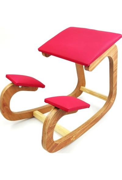 Okkored Özel Tasarım Deri Sandalye Boyun Düzleşme Önleyici ve Kamburlaşma Önleyici Kırmızı Deri Sandalye
