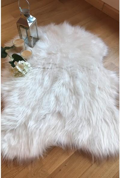 Ahsen Halı Kaymaz Taban Dekoratif Tavşan Tüylü Düz Beyaz Renk Kuzu Post Halı