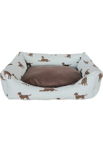 Markapet Köpek Desenli Köpek Yatağı Large 60*80 cm Turkuaz