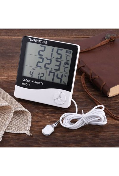Vmax Dijital Sıcaklık Nem Ölçer Alarmlı Masa Saati ve Isı Termometresi