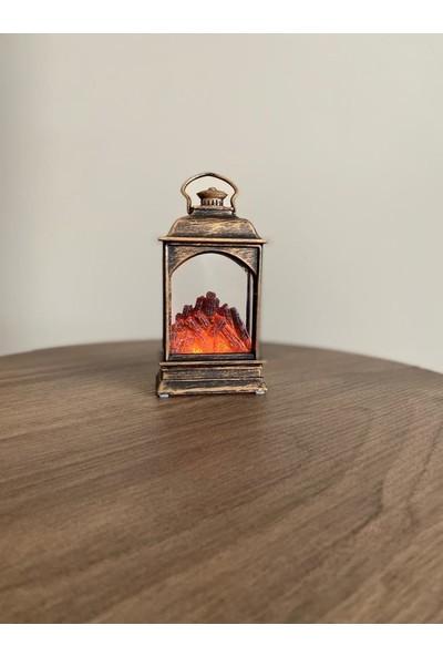 SUME Dekoratif Minyatür Şömine Pilli Fener Yılbaşı Süslemesi
