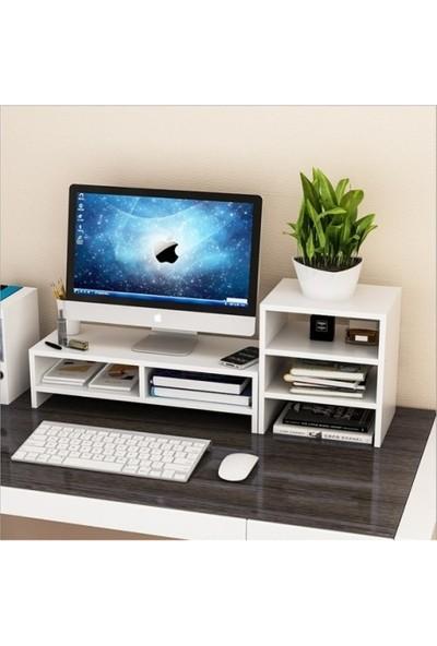 Tncn Mobilya Bilgisayar Monitörü Yükseltici ve 3 Katlı Masaüstü Raf Beyaz