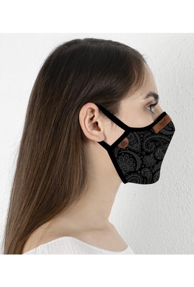 Vırout Mask Giyilebilir Tasarım Yıkanabilir Bez Maske -Kadın- Florid