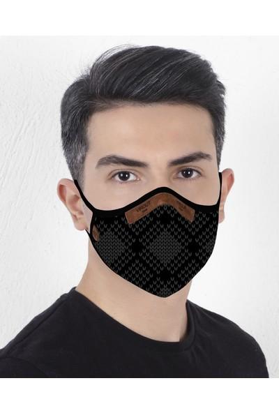 Vırout Mask Giyilebilir Tasarım Yıkanabilir Bez Maske -Erkek- Grain