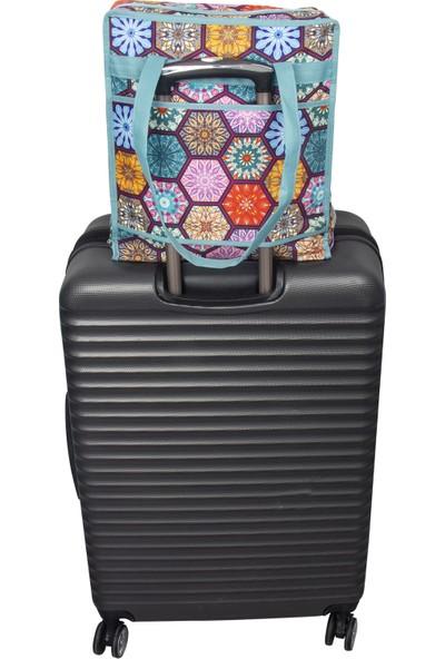 Meleni Home Otantik Desenli 6 Bölmeli Seyahat Tipi Ayakkabı Hurcu Saklama Çantası 35 x 22 x 40 cm