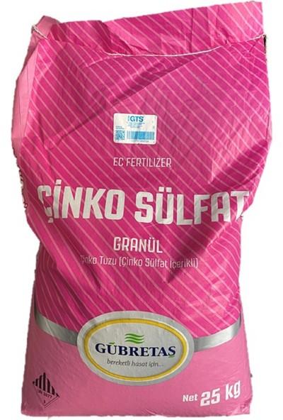 Gübretaş Çinko Sülfat %16 Granül Tahıl Meyve Sebze Bitki Besini Çinko Tuzu Gübresi 25 kg