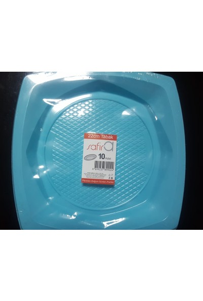 Safir Renkli Plastik Tabak 22 cm 10'lu