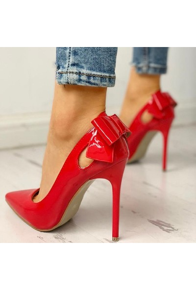 Trendyes Kırmızı Rugan Fiyonklu Stiletto Victoria