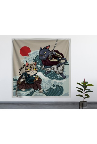 Alamode Samuray Kediler Duvar Örtüsü