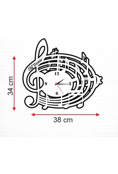 Sancak Notalar Müzik Desenli Dekoratif Kişiye Özel Duvar Saati