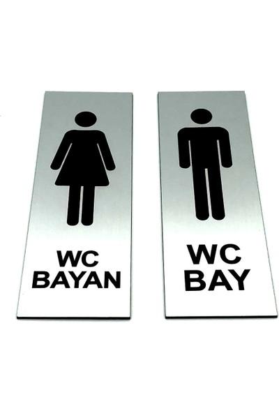 Se-Dizayn Wc Tuvalet Tabelası Bayan Bay Takım 2 Adet Kapı Yönlendirme Levha