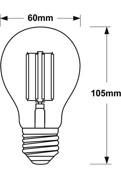 ERD95 A60 Standart Tip Edison Flamanlı Rustik LED Ampul 6 Watt