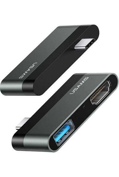 Usams Usb-C To USB 3.0 - HDMI 1.4 Mini Cevirici Hub US-SJ462