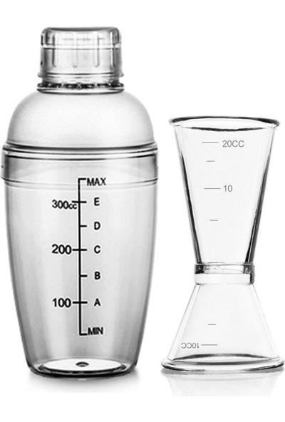 Leva House Polikarbon 350ML Şeffaf Kokteyl Shaker Karıştırıcı ve 1/2 cl Jigger Set