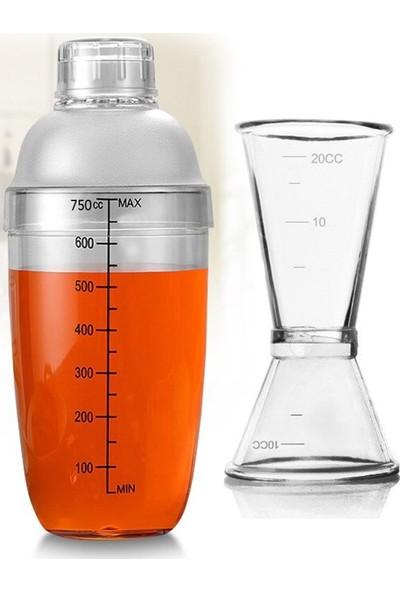 Leva House Polikarbon 750ML Şeffaf Kokteyl Shaker Karıştırıcı ve 1/2 cl Jigger
