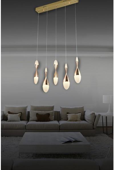 Luna Lighting Modern Luxury Sarkıt Sıralı Yemek Masası 5'li LED Avize