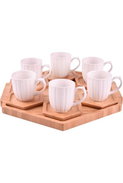 Bambum Dulato- 6 Kişilik Tepsili Çay Fincan Takımı B1021