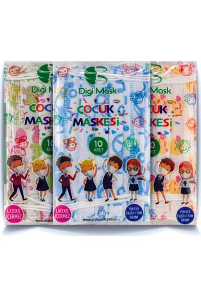 Digi Mask Desenli Çocuk Maskesi 10'lu 5 Paket Mavi