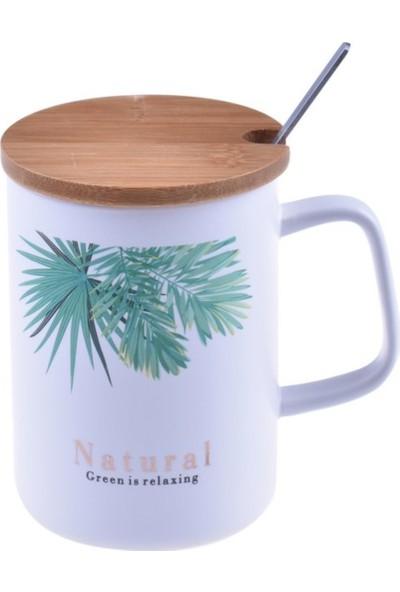 Bambum Batido - Bambu Kapaklı Porselen Kupa Yaprak- D-B1167-D