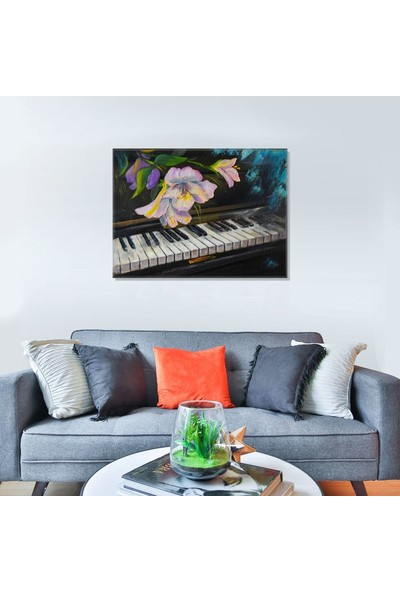 Pablofi Piyano ve Çiçek Yağlı Boya Redrodüksiyon Kanvas Tablo 40 x 60 cm
