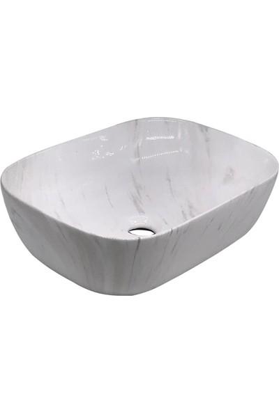Şengüler Beyaz Mermer Desenli Çanak Lavabo