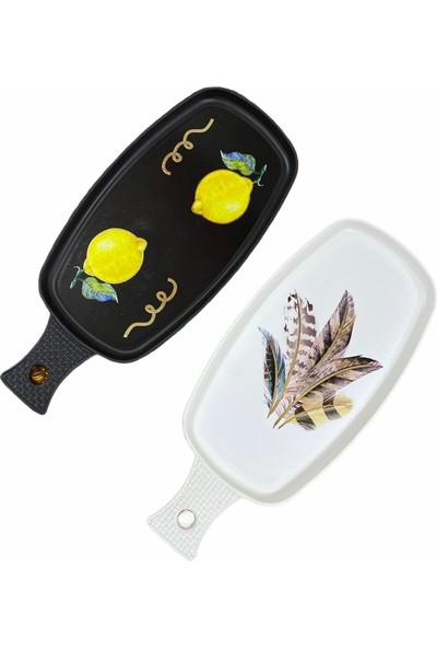 Ledshop Limon ve Kuş Tüyü Desenli Tepsi 2'li Set Siyah Beyaz