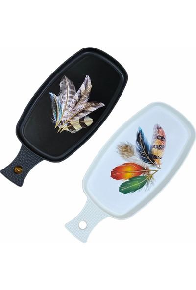 Ledshop Yeni Model Kuş Tüyü Desenli Tepsi 2'li Set Siyah Beyaz