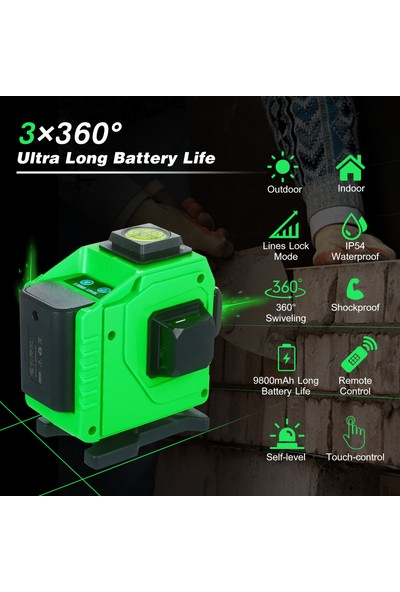 Buyfun Çizgi Lazer Seviye Aleti 3 × 360 ° Yeşil Işın Kendinden (Yurt Dışından)