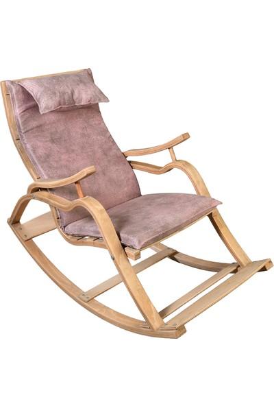 Aeka AE-5001 Marmara Sallanan Sandalye Ahşap Dinlenme Minderli