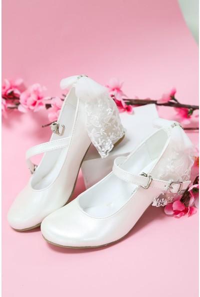 Gimer Avm Topuklu Beyaz Rugan Kız Çocuk Ayakkabı