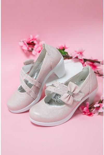 Gimer Avm Topuklu Pembe Simli Kız Çocuk Ayakkabı