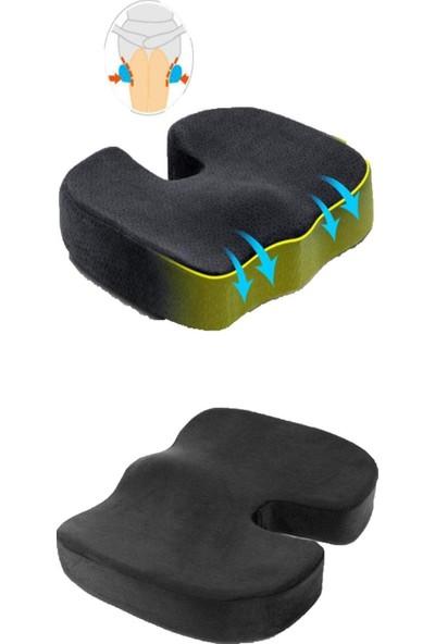 Morfoni Ofis Sandalyesi Bel Destek ve Oturma Minderi Yastığı 2 Li Konfor Set