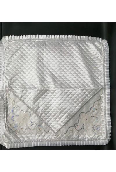Ekinci Çamaşır Makinası Örtüsü File Pullu Beyaz