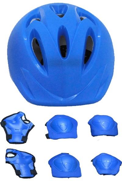 Birlik Oyuncak Güçlü Plastik Yüksek Yoğunluklu Strafor Çocuk Scooter Bisiklet Kaykay Paten Kaskı ve 6 Parça Dizlik Dirseklik Koruma Seti Kask Seti Mavi